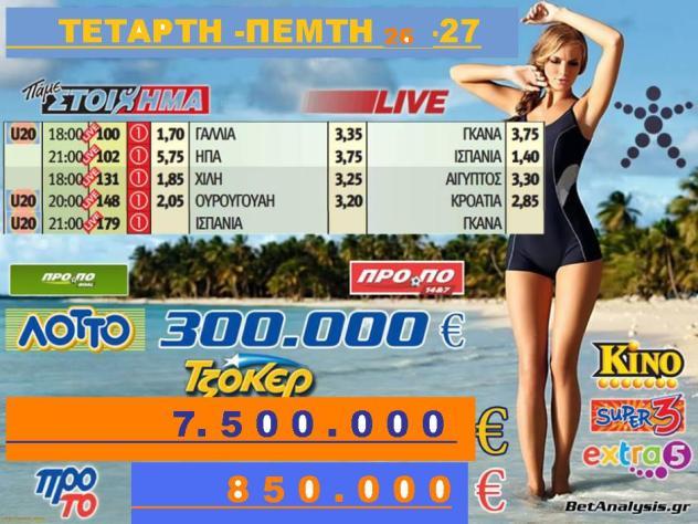 350.000 ΛΟΤΤΟ   7.500.000 τουλάχιστον θα μοιραστούν οι τυχεροί της 1ης κατηγορίας στην επόμενη κλήρωση της ΠΕΜΤΗΣ 27-O6-2013