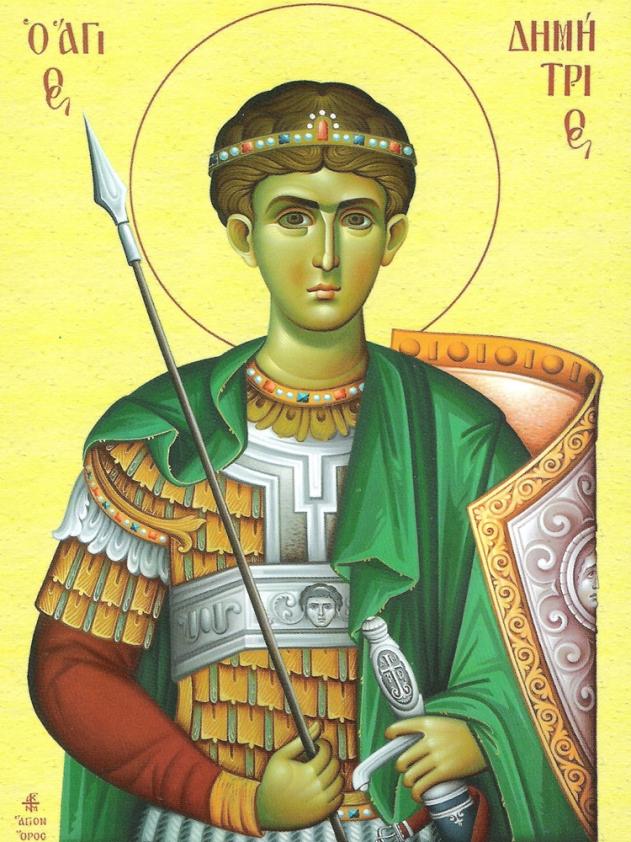 Ο 'γιος Δημήτριος γεννήθηκε στην Θεσσαλονίκη το 260μ.Χ., οι γονείς του ήταν ευγενείς και ο πατέρας του ήταν Μακεδόνας Στρατηγός της Ρωμαϊκής Αυτοκρατορίας. Αλλά ο 'γιος Δημήτριος δεν ξεχώρισε μόνο για την ευγενική του καταγωγή μα και για την αρετή του, την ευπρέπεια και την ευγένεια της ψυχής του και την ικανότητά του στην στρατιωτική τέχνη, που εκείνη την εποχή αποτελούσε πεδίο διάκρισης για τους νέους και θεωρούταν ιδιαίτερα δημοφιλής. Μάλιστα ο 'γιος Δημήτριος έφτασε σαν στρατιωτικός στο αξίωμα του Δούκα, ξεπερνώντας την δόξα του πατέρα του.