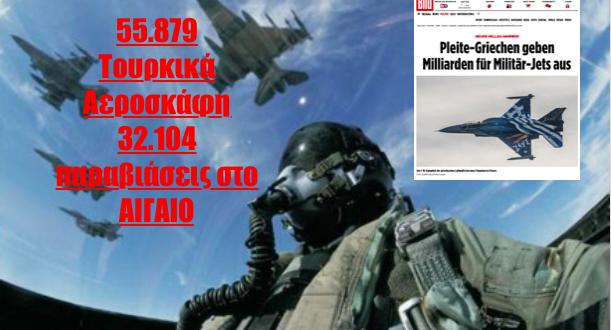 #Bild τράβα σοβαρέψου! Η απάντηση στα προκλητικά δημοσιεύματα με αριθμούς από το Αιγαίο...Αρκεί να αναφέρουμε ότι κατά μέσο όρο η μία ώρα πτήσης ενός μαχητικού αεροσκάφους, κοστίζει περίπου 10.000 ευρώ. Κάθε αποστολή αναγνώρισης-αναχαίτισης και πιθανόν εμπλοκής ,δύσκολα διαρκεί κάτω από μία ώρα. Συνεπώς είναι κατανοητό ότι με 55.879 αεροσκάφη στο Αιγαίο το κόστος που έχει πληρώσει η Ελλάδα είναι απλά…απροσδιόριστο! Πολύ περισσότερο αν η ΠΑ υπολογίσει το κόστος των παραβιάσεων από το 1974, όταν ξεκίνησαν αυτό το επικίνδυνο και ακριβό παιχνίδι οι Τούρκοι.